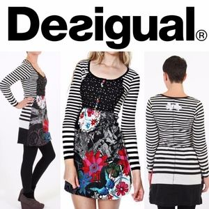 Desigual Lara Dress Floral Striped Print Summer M